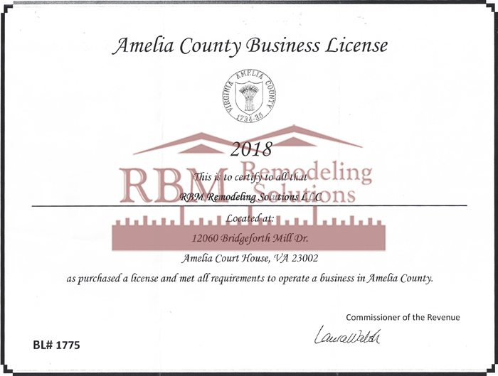Amelia County Business LICENSE for 2018 is up to date for RBM Remodeling Solutions