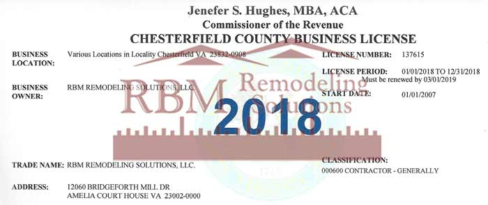 Chesterfield County Business LICENSE for 2018 is up to date for RBM Remodeling Solutions