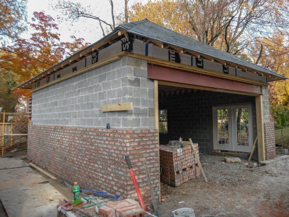 Brick Veneer Being Installed At New 24 X 26 Garage In