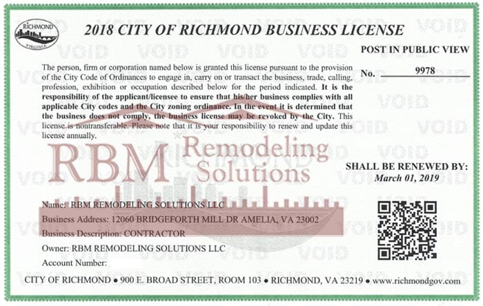 Richmond City, Virginia Business LICENSE 2018