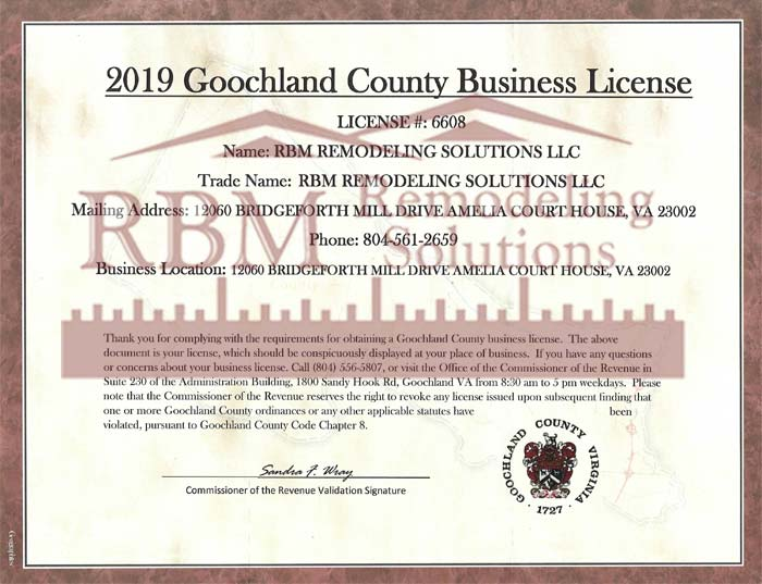 Goochland County VA Business LICENSE-2019