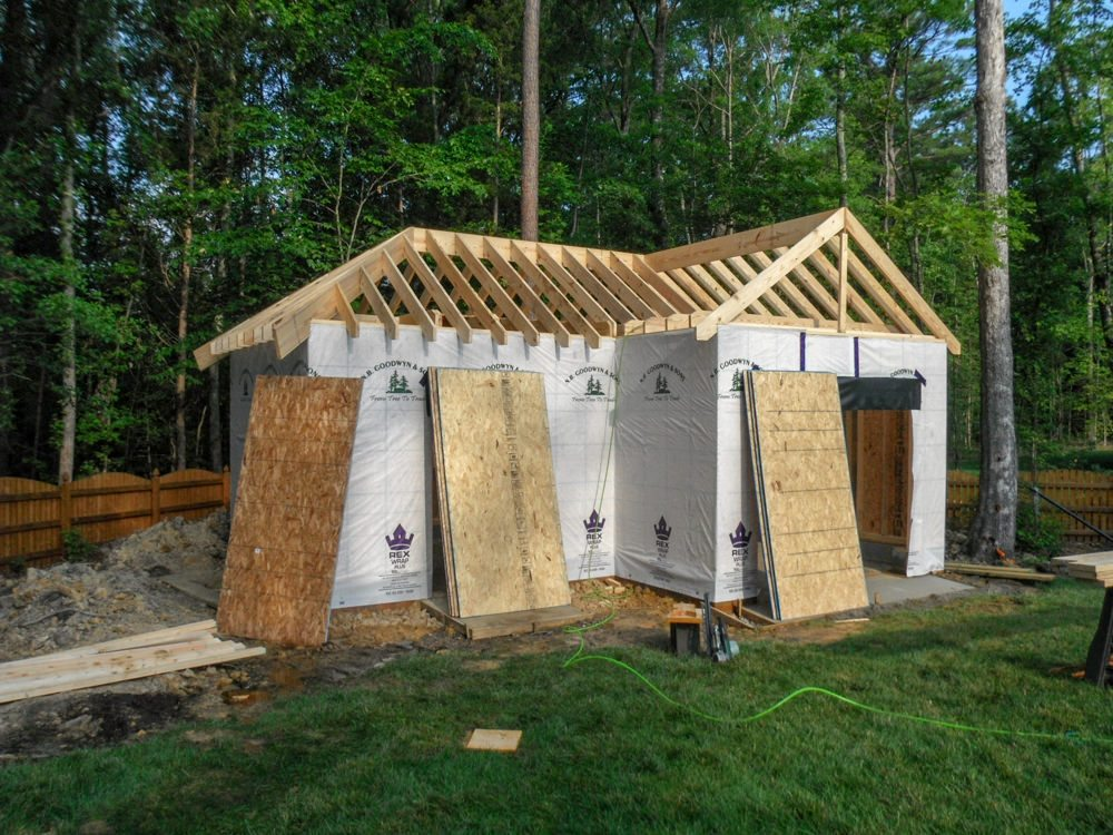 Framing continues at new 18 x 24 l shaped garage in for L shaped shed designs