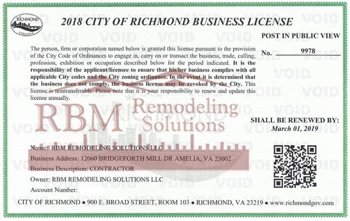 Richmond City, Virginia Business LICENSE 2018