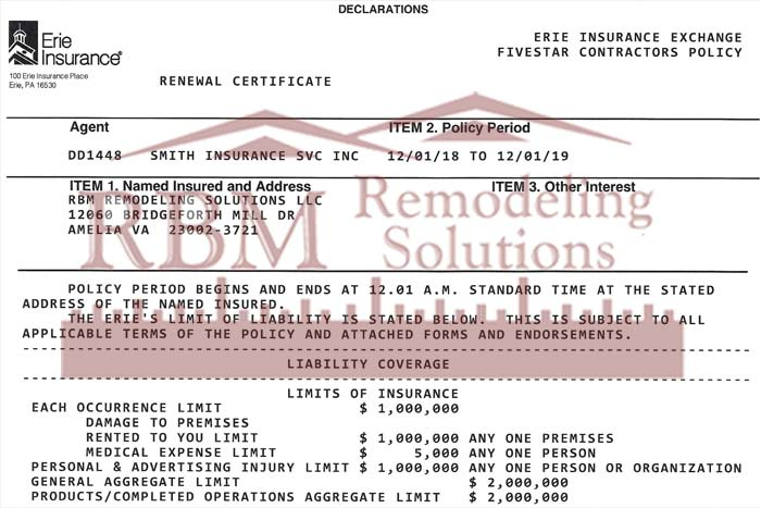 General Liability Insurance 2019 RBM Remodeling Solutions, LLC