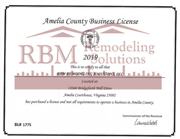 RBM Remodeling Solutions, LLC - Amelia County VA Business License 2019