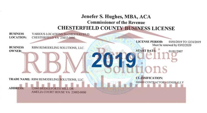 RBM Remodeling Solutions, LLC - Chesterfield VA Business License 2019