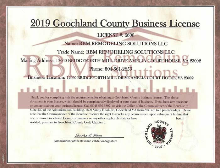 RBM Remodeling Solutions, LLC - Goochland County VA Business License 2019