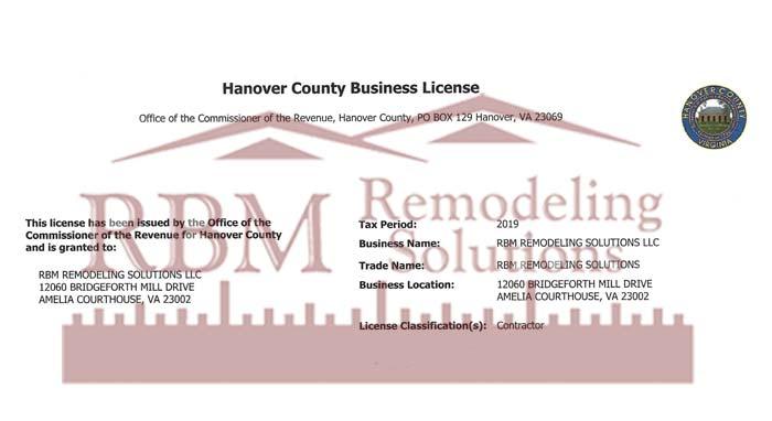RBM Remodeling Solutions, LLC - Hanover VA Business License 2019
