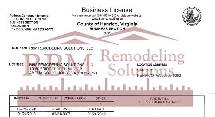 RBM Remodeling Solutions, LLC - Henrico VA Business License 2019