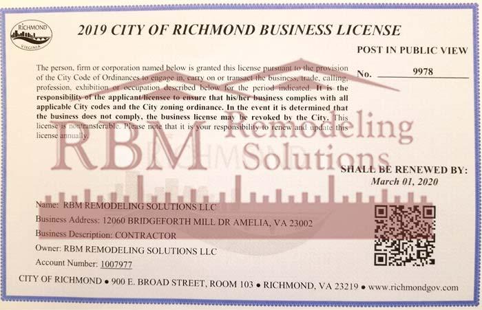 RBM Remodeling Solutions, LLC - Richmond VA Business License 2019