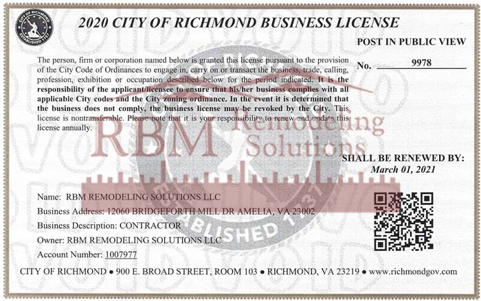 RBM Remodeling Solutions, LLC - Richmond VA Business License 2020