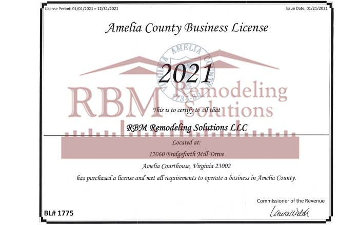 RBM Remodeling Solutions, LLC - Amelia County VA Business License 2021