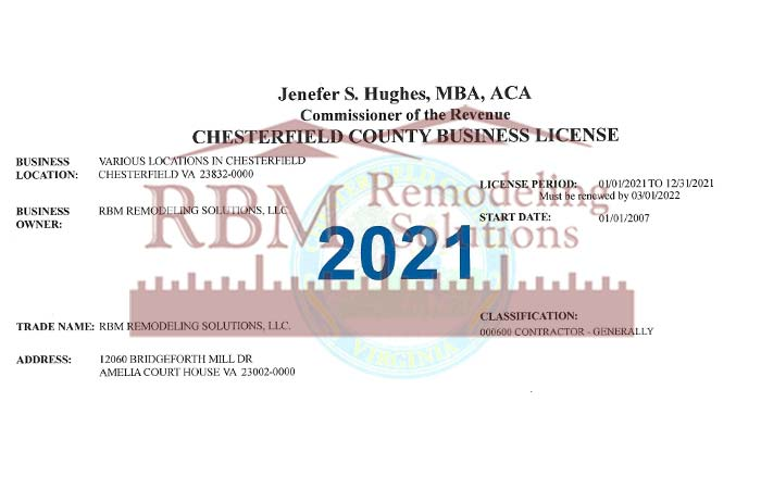 RBM Remodeling Solutions, LLC - Chesterfield VA Business License 2021