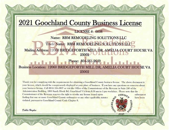 RBM Remodeling Solutions, LLC - Goochland County VA Business License 2021