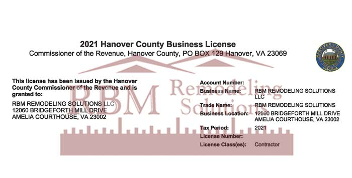 RBM Remodeling Solutions, LLC - Hanover VA Business License 2021
