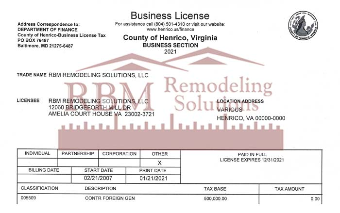 RBM Remodeling Solutions, LLC - Henrico County VA Business License 20210