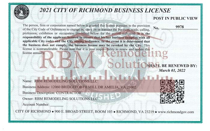 Richmond VA Business LICENSE 2021